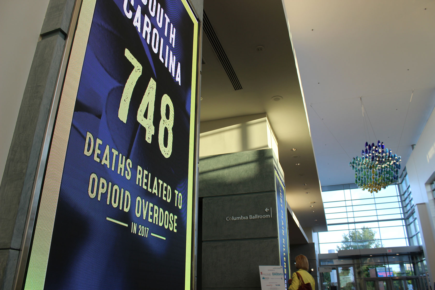 LED Signs showing the total number of SC opioid related deaths in 2017