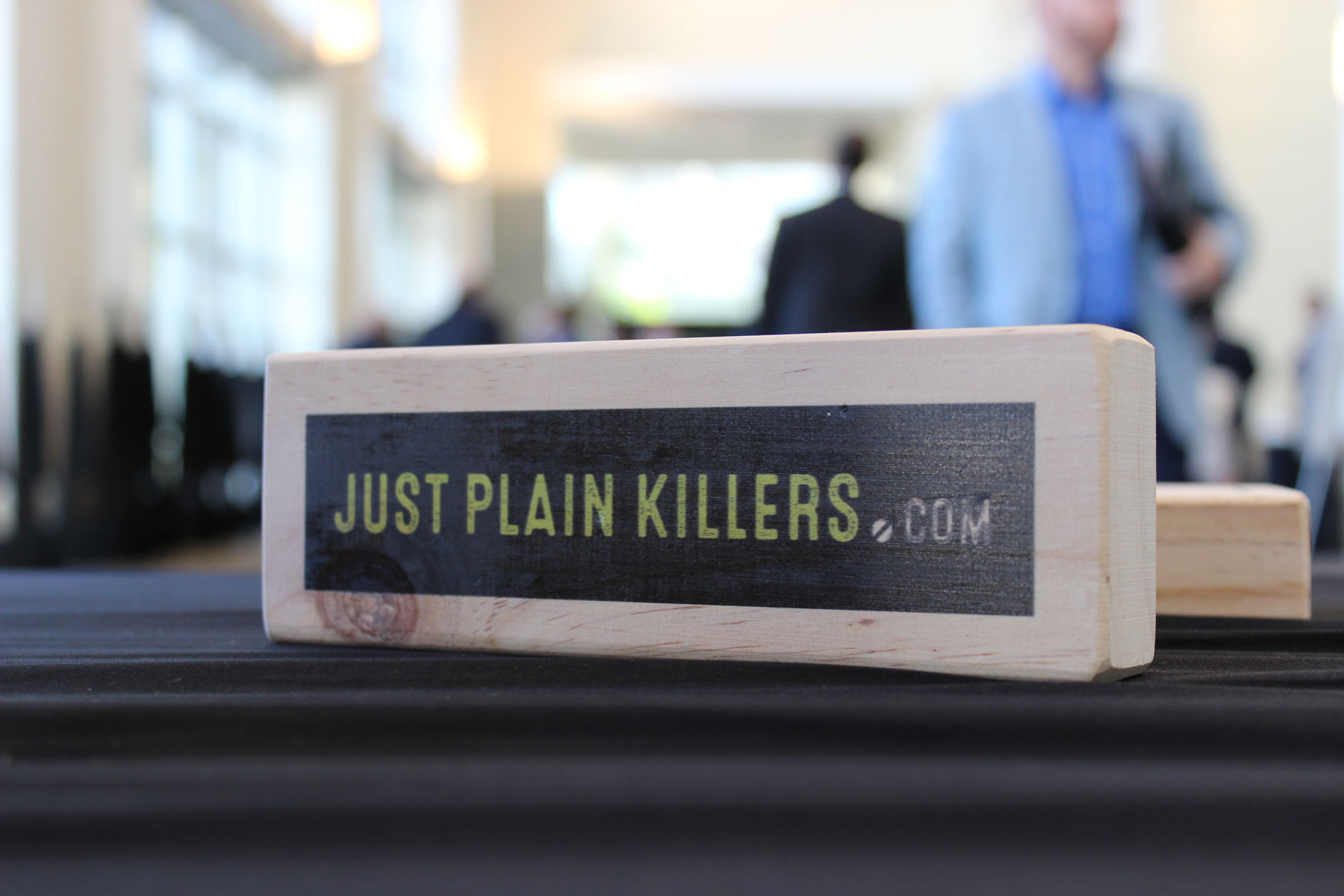 Each wooden block was branded with the Just Plain Killers logo